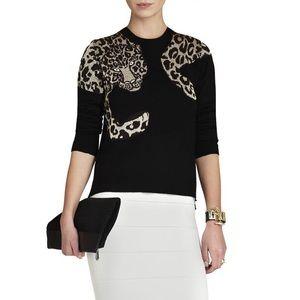 Rare BCBG MAX AZRIA Jaxin leopard sweater black
